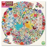 Eeboo 500 Piece Round Puzzle - Blue Bird, Yellow Bird